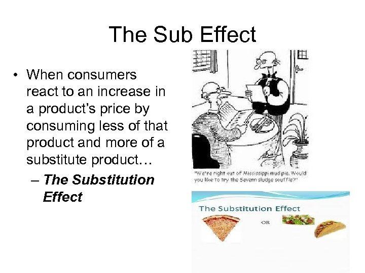 The Sub Effect • When consumers react to an increase in a product's price