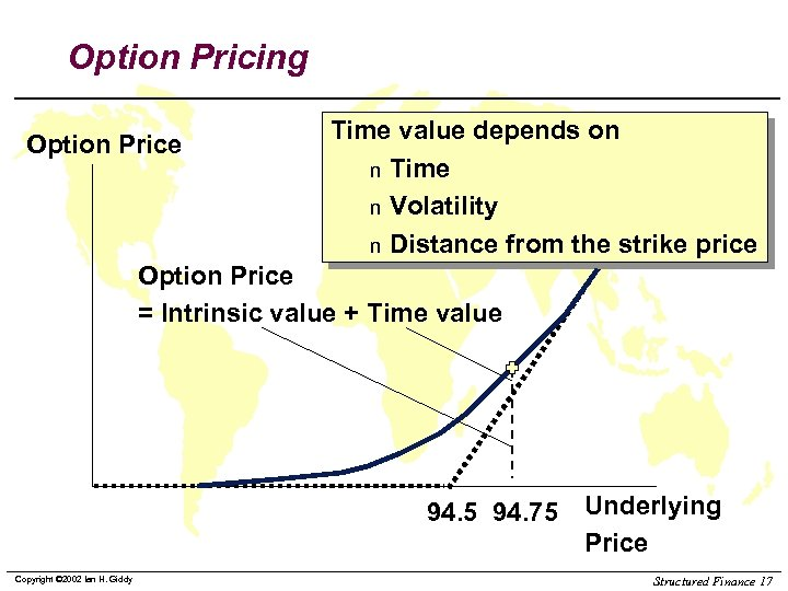 Option Pricing Option Price Time value depends on n Time n Volatility n Distance