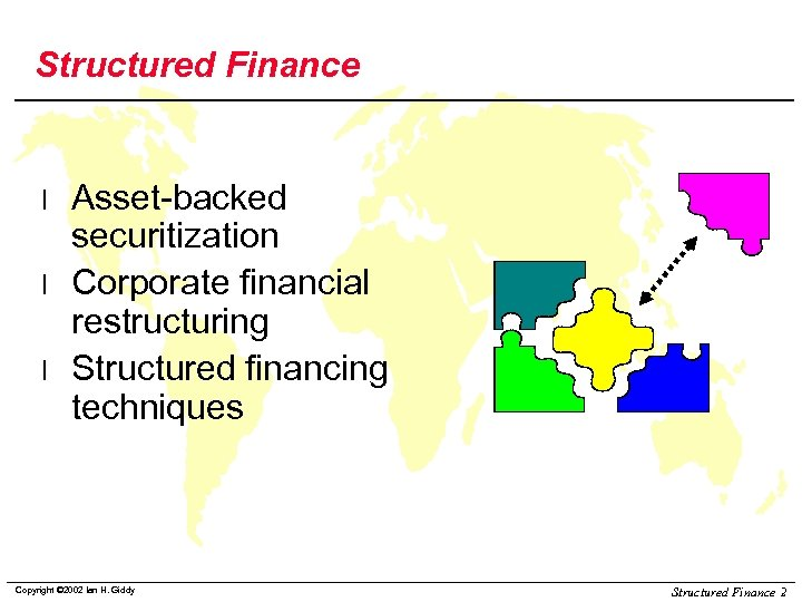 Structured Finance l l l Asset-backed securitization Corporate financial restructuring Structured financing techniques Copyright