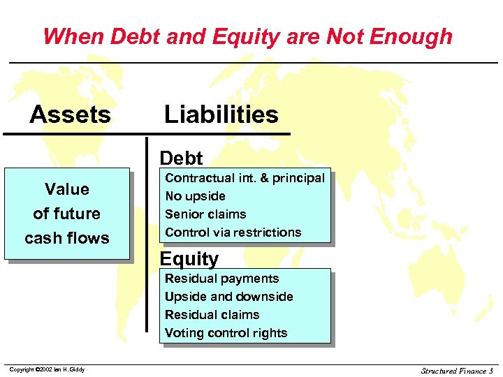 When Debt and Equity are Not Enough Assets Liabilities Debt Value of future cash