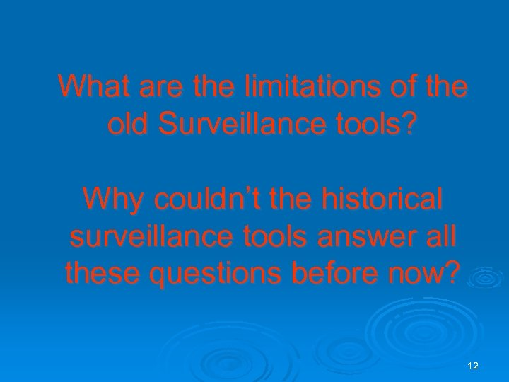 What are the limitations of the old Surveillance tools? Why couldn't the historical surveillance