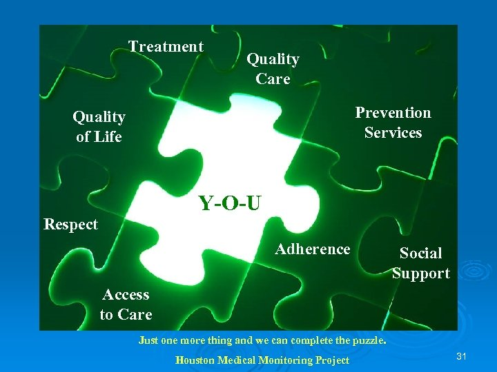 Treatment Quality Care Prevention Services Quality of Life Y-O-U Respect Adherence Social Support Access