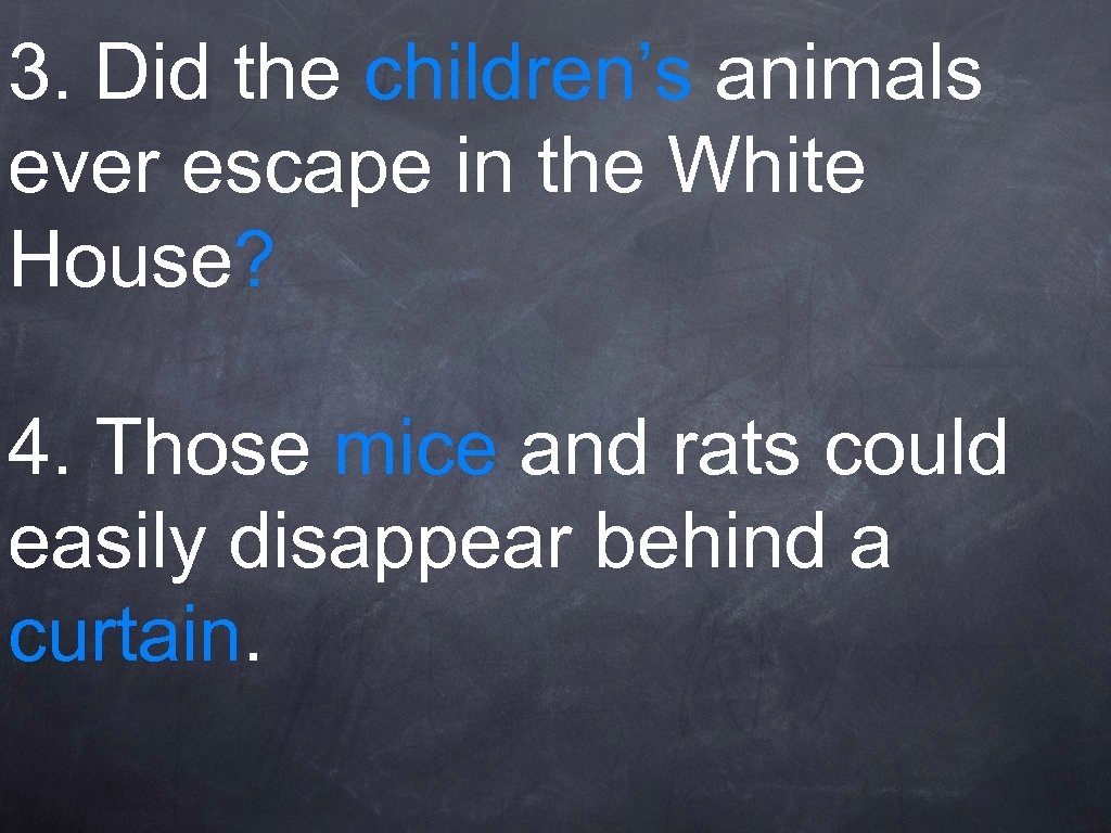 3. Did the children's animals ever escape in the White House? 4. Those mice