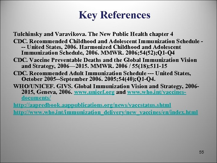 Key References Tulchinsky and Varavikova. The New Public Health chapter 4 CDC. Recommended Childhood