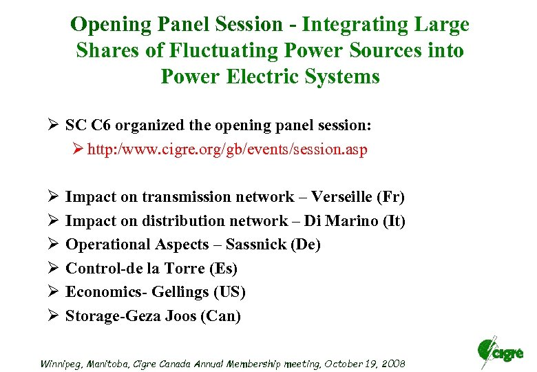 Opening Panel Session - Integrating Large Shares of Fluctuating Power Sources into Power Electric