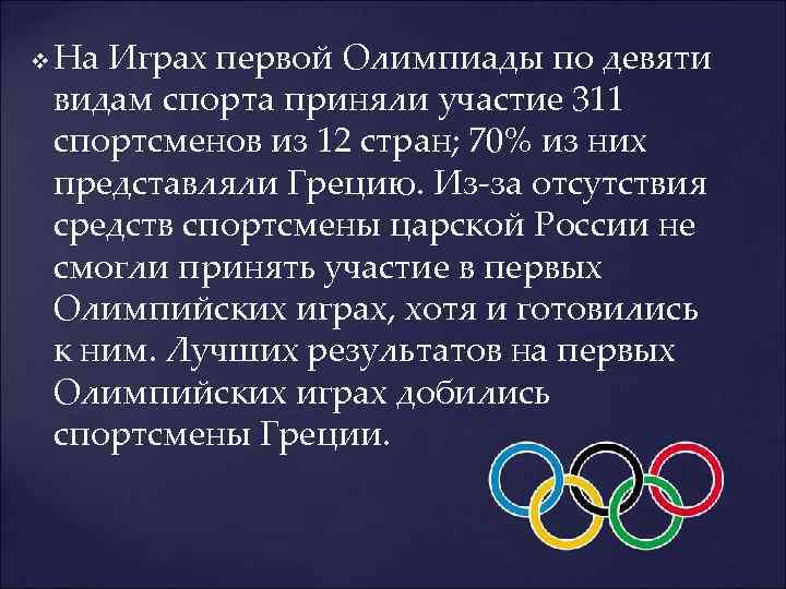v На Играх первой Олимпиады по девяти видам спорта приняли участие 311 спортсменов из