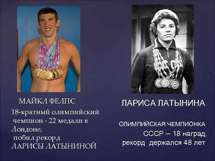 МАЙКЛ ФЕЛПС 18 -кратный олимпийский чемпион - 22 медали в Лондоне, побил рекорд