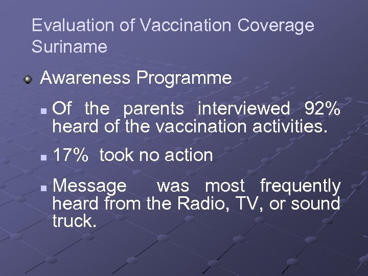 Evaluation of Vaccination Coverage Suriname Awareness Programme n n n Of the parents interviewed