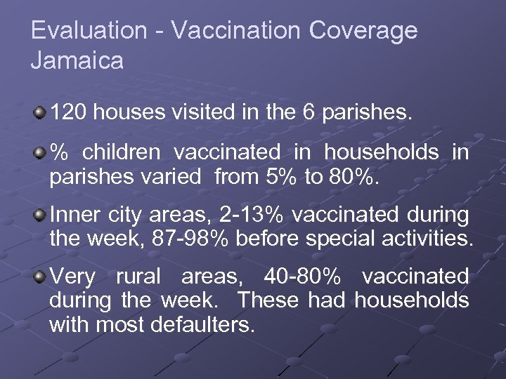 Evaluation - Vaccination Coverage Jamaica 120 houses visited in the 6 parishes. % children