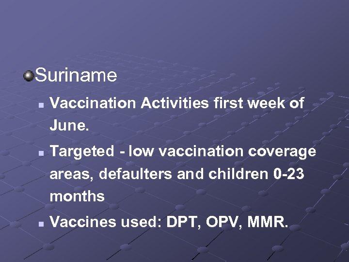 Suriname n n n Vaccination Activities first week of June. Targeted - low vaccination