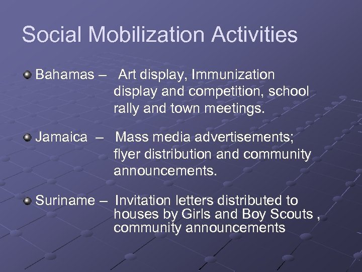 Social Mobilization Activities Bahamas – Art display, Immunization display and competition, school rally and