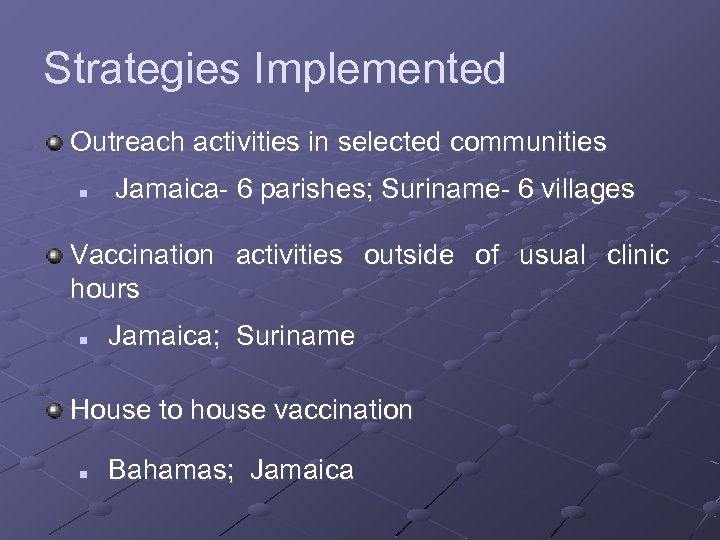 Strategies Implemented Outreach activities in selected communities n Jamaica- 6 parishes; Suriname- 6 villages