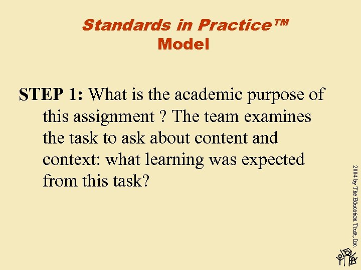 Standards in Practice™ Model 2004 by The Education Trust, Inc. STEP 1: What is