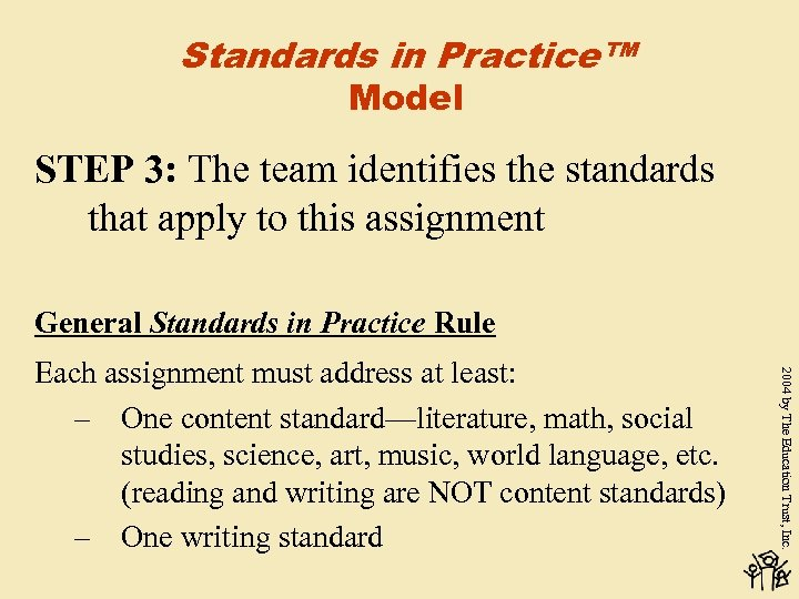 Standards in Practice™ Model STEP 3: The team identifies the standards that apply to
