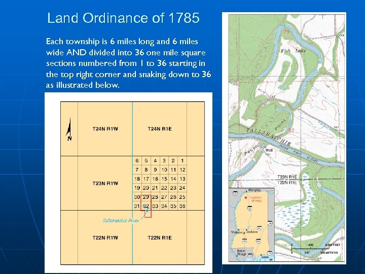 Land Ordinance of 1785 Each township is 6 miles long and 6 miles wide