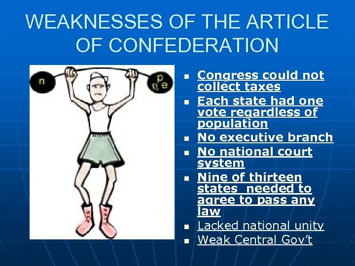 WEAKNESSES OF THE ARTICLE OF CONFEDERATION n n n n Congress could not collect