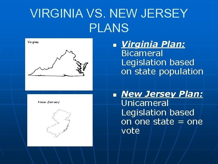 VIRGINIA VS. NEW JERSEY PLANS n n Virginia Plan: Bicameral Legislation based on state