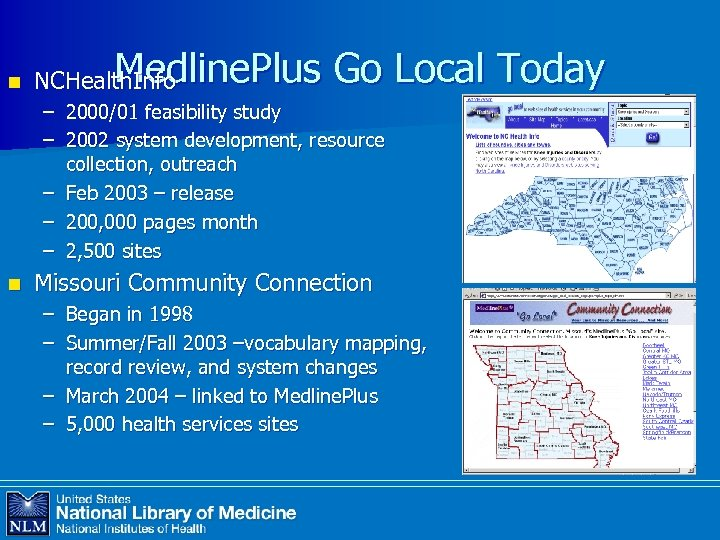 n Medline. Plus Go Local Today NCHealth. Info – 2000/01 feasibility study – 2002
