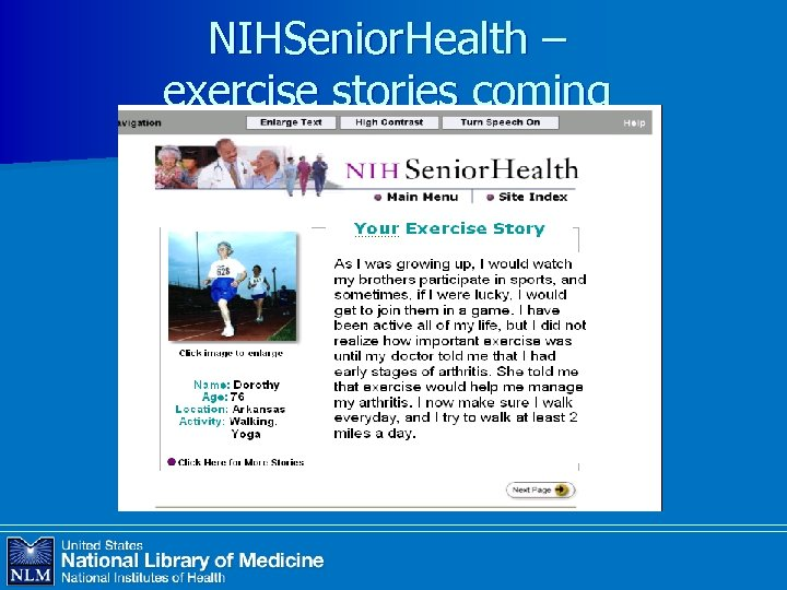 NIHSenior. Health – exercise stories coming