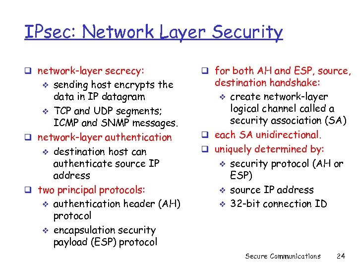IPsec: Network Layer Security q network-layer secrecy: sending host encrypts the data in IP