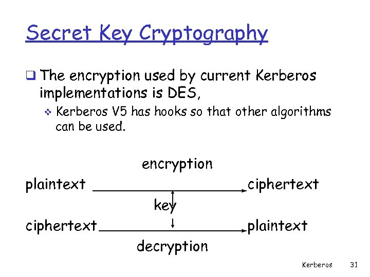 Secret Key Cryptography q The encryption used by current Kerberos implementations is DES, v