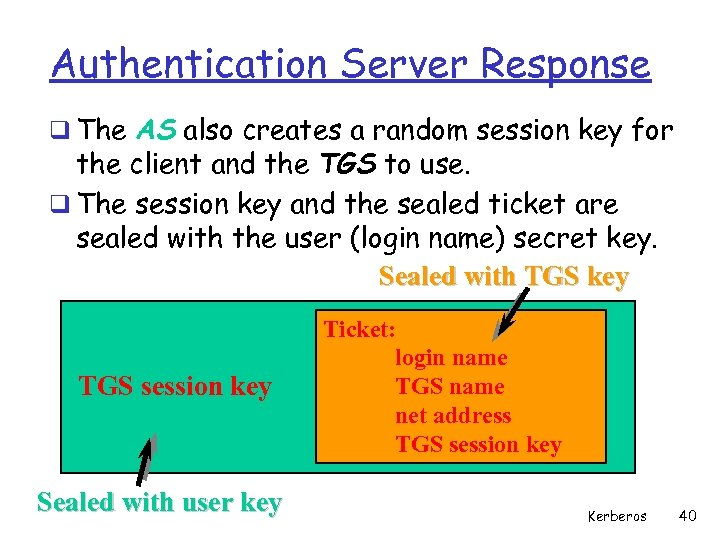 Authentication Server Response q The AS also creates a random session key for the