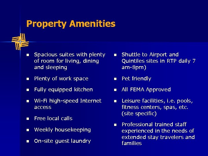 Property Amenities n Spacious suites with plenty of room for living, dining and sleeping