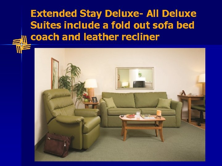 Extended Stay Deluxe- All Deluxe Suites include a fold out sofa bed coach and