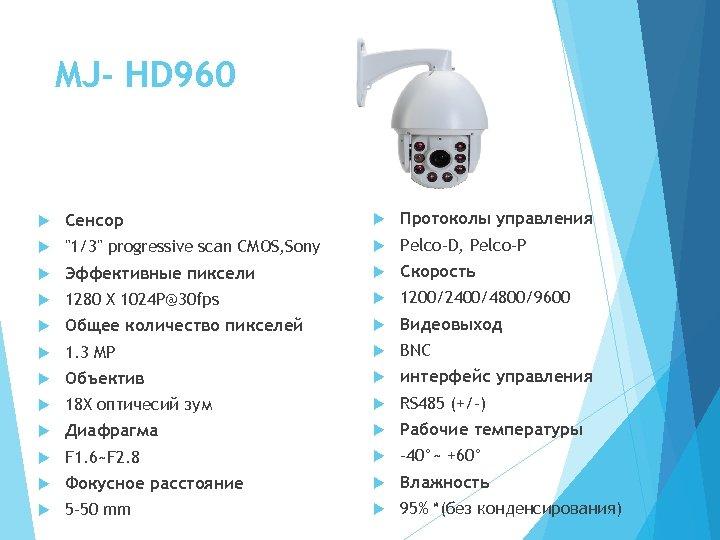 MJ- HD 960 Сенсор Протоколы управления