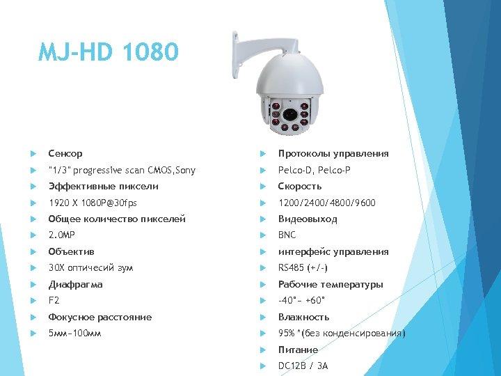 MJ-HD 1080 Сенсор Протоколы управления