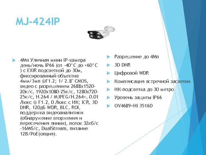 MJ-424 IP 4 Мп Уличная мини IP-камера день/ночь IP 66 (от -40°C до +60°C