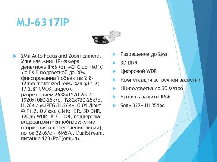 MJ-6317 IP 2 Мп Auto Focus and Zoom camera. Уличная мини IP-камера день/ночь IP