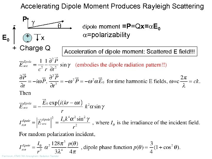 Accelerating Dipole Moment Produces Rayleigh Scattering P E 0 q + x + Charge