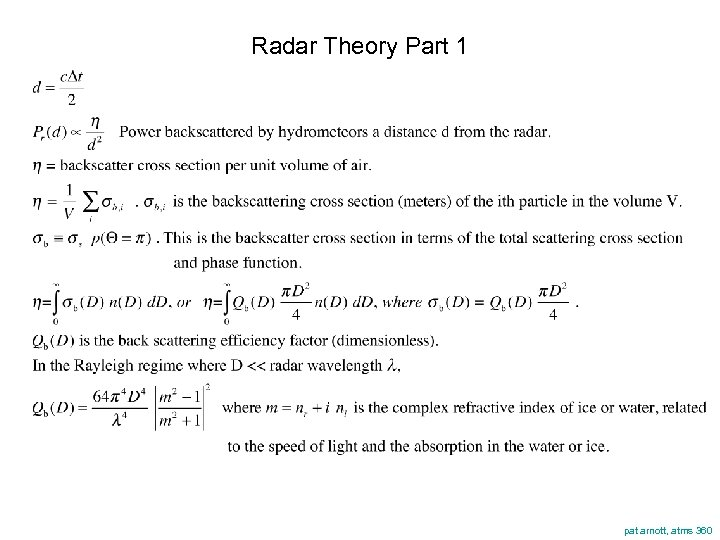 Radar Theory Part 1 pat arnott, atms 360