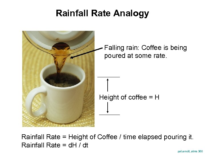 Rainfall Rate Analogy Falling rain: Coffee is being poured at some rate. Height of
