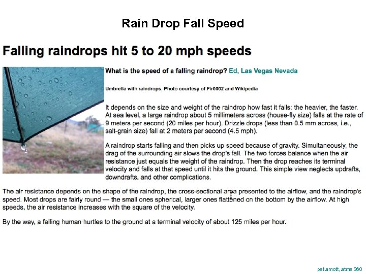 Rain Drop Fall Speed pat arnott, atms 360