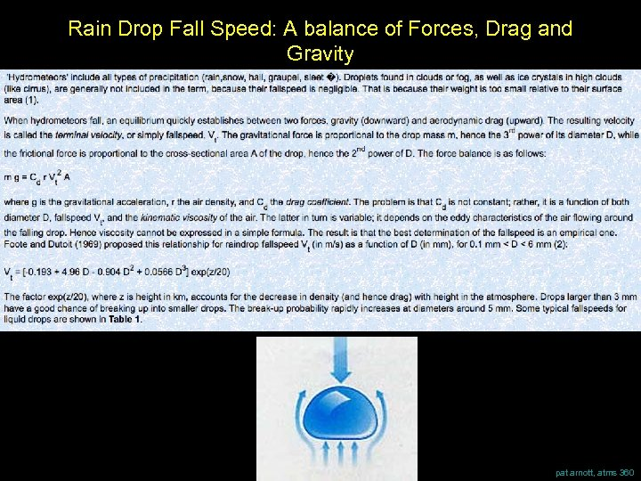 Rain Drop Fall Speed: A balance of Forces, Drag and Gravity pat arnott, atms
