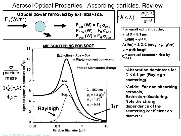 Aerosol Optical Properties: Absorbing particles. Review Optical power removed by ext=abs+sca. F 0 (W/m