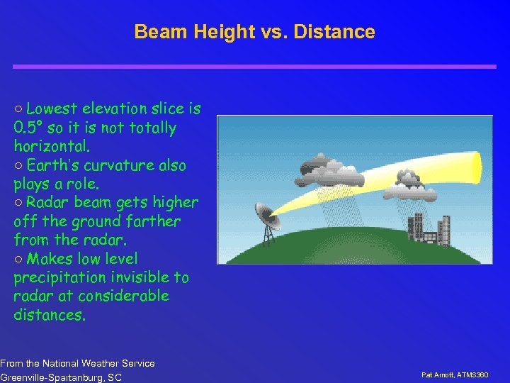 Beam Height vs. Distance ○ Lowest elevation slice is 0. 5° so it is