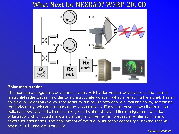 What Next for NEXRAD? WSRP-2010 D Polarimetric radar The next major upgrade is polarimetric