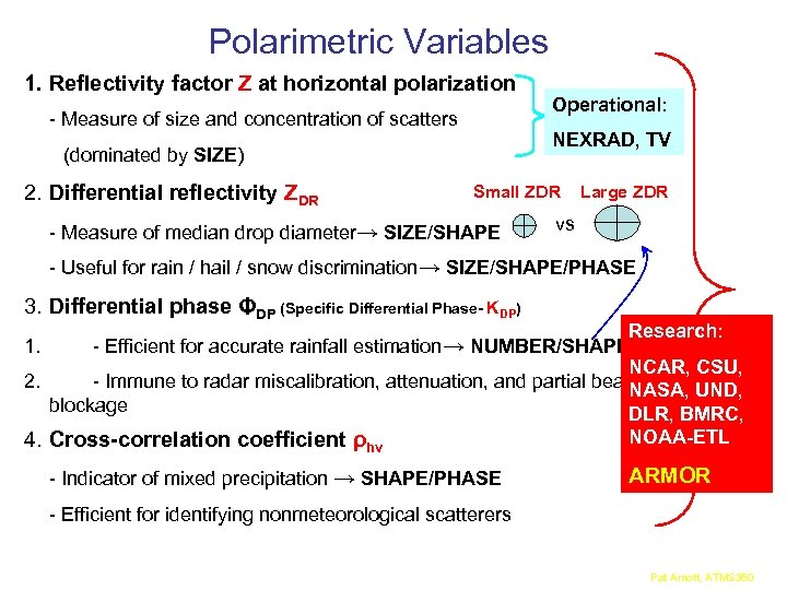 Polarimetric Variables 1. Reflectivity factor Z at horizontal polarization - Measure of size and