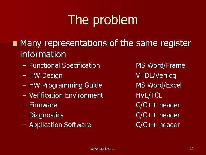 The problem n Many representations of the same register information – – – –