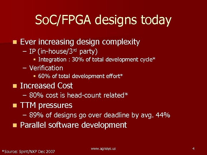 So. C/FPGA designs today n Ever increasing design complexity – IP (in-house/3 rd party)