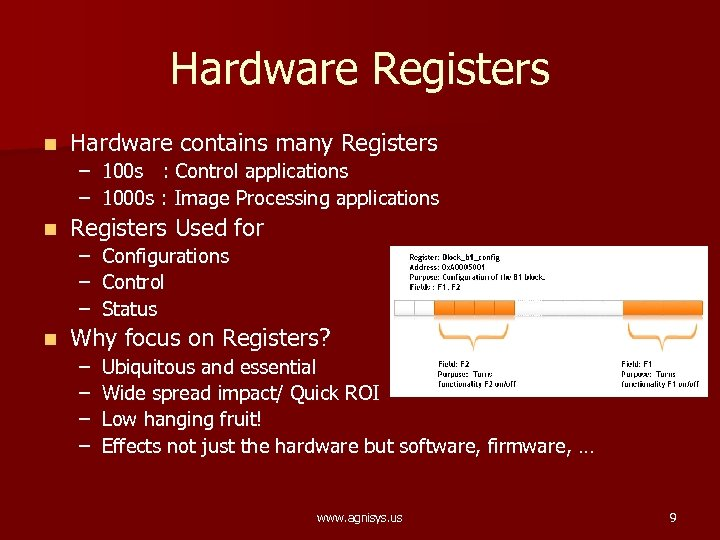 Hardware Registers n Hardware contains many Registers – 100 s : Control applications –