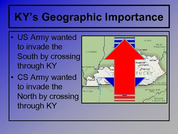KY's Geographic Importance • US Army wanted to invade the South by crossing through