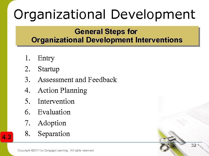 Organizational Development General Steps for Organizational Development Interventions 4. 3 1. 2. 3. 4.