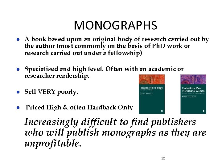 MONOGRAPHS ● A book based upon an original body of research carried out by