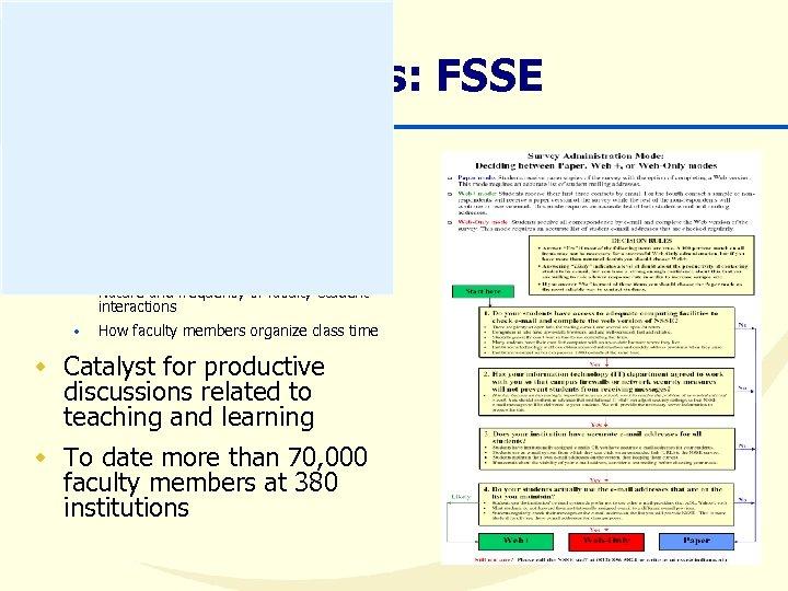 Core Surveys: FSSE w Designed to parallel NSSE undergraduate survey w Faculty perceptions of
