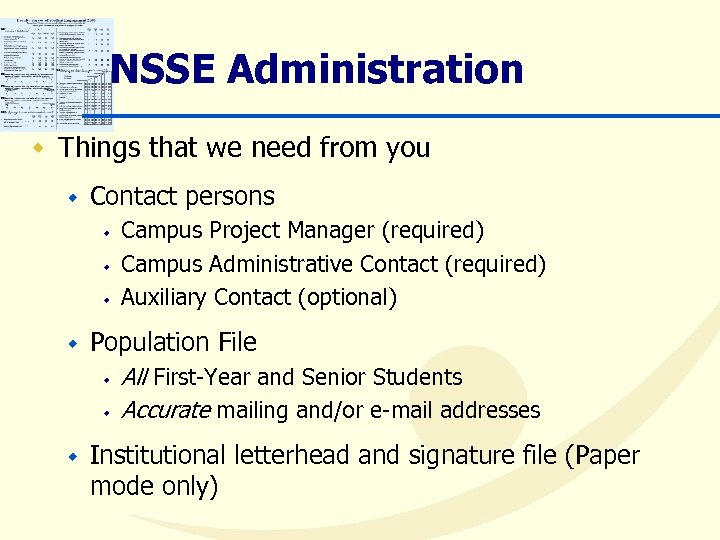 NSSE Administration w Things that we need from you w Contact persons w w