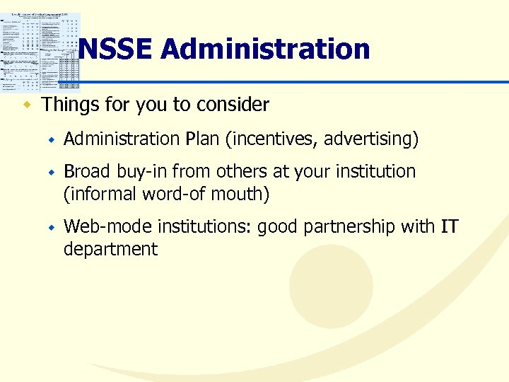 NSSE Administration w Things for you to consider w Administration Plan (incentives, advertising) w